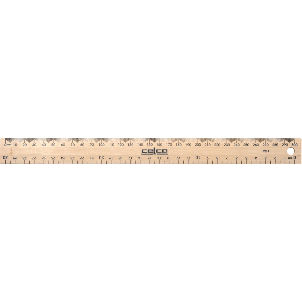 Celco Wooden Ruler 30cm Polished