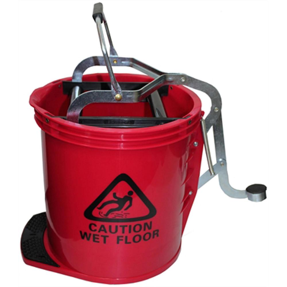 Cleanlink Heavy Duty Plastic Mop Bucket Metal Wringer 16L Red