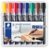Staedtler 350 Lumocolor Permanent Marker Chisel 2-5mm Assorted Wallet of 8