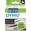 DYMO D1 LABEL CASSETTE TAPE 19mm x 7M Black on Blue