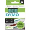 DYMO D1 LABEL CASSETTE TAPE 19mm x 7M Black on Green
