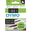 DYMO D1 LABEL CASSETTE TAPE 19mm x 7M White on Black