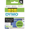 DYMO D1 LABEL CASSETTE TAPE 24mm x 7M Black on Yellow