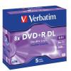 VERBATIM RECORDABLE DVD DVD+R 8.5GB 8X PK5 Jewel Case