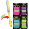 POST-IT 680-PPBGVA FLAGS Value Pack 50x4 Assorted & Highlighter - Pack of 200