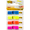 POST-IT 683-4ABX FLAG TRNSLCNT 12mm Blue Yellow Orange Pink Pack of 140