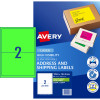 AVERY L7168FG LASER LABELS 2 UP 199.6x43.5mm Green Pack of 10