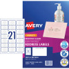 AVERY J8560 QUICK PEEL LABEL I/Jet 21/Sht 63.5x38.1 Add Clr Pack of 525