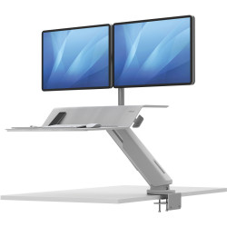 FELLOWES LOTUS RT SIT STAND Workstation Dual Monitor White