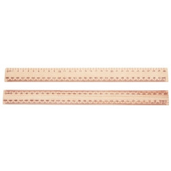 RULEX WOODEN RULER 30cm Unpolished ea