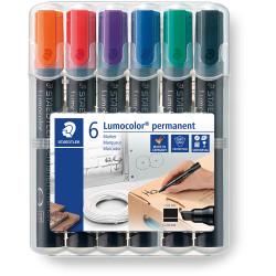Staedtler 350 Lumocolor Permanent Marker Chisel 2-5mm Assorted Wallet Of 6
