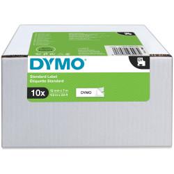 DYMO D1 LABEL CASSETTE TAPE 12mm x 7m Black on White Value Pack of 10