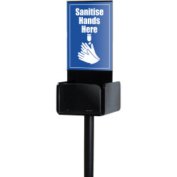 Deflecto Hand Sanitiser Stand Single Side Display A4 Black