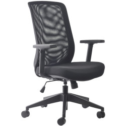 Mondo Gene Mesh Back Office Chair With Arms Black Mesh Back and Fabric Seat