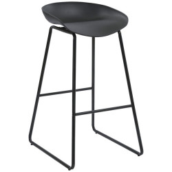 Aries Bar Stool with Black Metal Frame and Polypropylene Black Shell Seat
