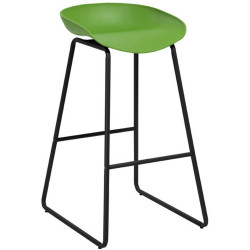 Aries Bar Stool with Black Metal Frame and Polypropylene Green Shell Seat