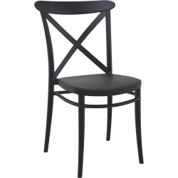 Cross Indoor Outdoor Cafe Chair Stackable UV Stabilised Polypropylene Black