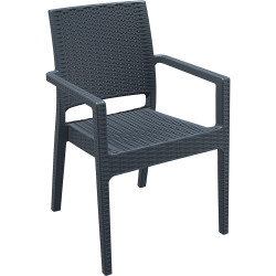 Ibiza Indoor Outdoor Armchair Injection Moulded Resin UV Stabilised Anthracite