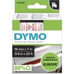 DYMO D1 LABEL CASSETTE TAPE 19mm x 7M Red on White