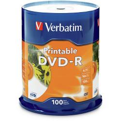 VERBATIM RECORDABLE DVD DVD-R 4.7GB Wht Printble 100Pk