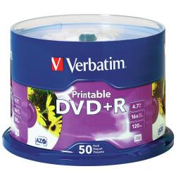 VERBATIM RECORDABLE DVD DVD+R 4.7GB Wht Printable Pk50