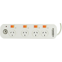 POWERPLUS POWERBOARD 4 OUTLET Individual Switch,Surge&O/load