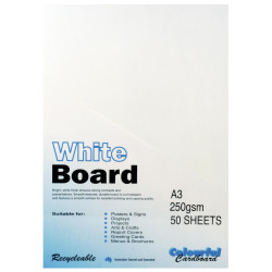 CUMBERLAND WHITE/PASTE BOARD A3 250gsm - 4Sheet Pack of 50