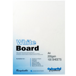 CUMBERLAND WHITE/PASTE BOARD A4 200gsm - 3sheet Pack of 100