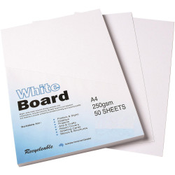 CUMBERLAND WHITE/PASTE BOARD A4 250gsm - 4Sheet Pack of 50