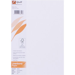 QUILL A4 LINEN BOND PAPER 90gsm White Pack of 100
