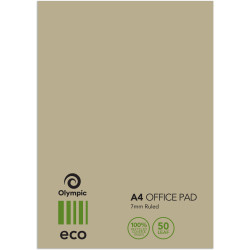 TUDOR ECO OFFICE PADS A4 50Leaf 7mm Ruled 75%Rcycld