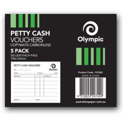 OYLMPIC PETTY CASH PAD Singles 50Leaf 100x120mm Pack of 5