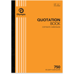 Olympic 750 Carbonless Book Duplicate A4 297x210mm Quotation 50 Leaf