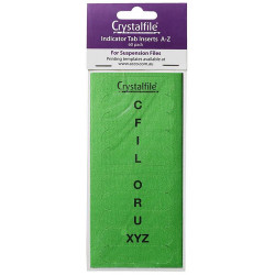CRYSTALFILE TAB INSERTS A-Z Green Pack of 60