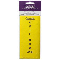 CRYSTALFILE TAB INSERTS A-Z Yellow Pack of 60