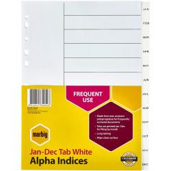 Marbig Plastic Divider A4 Indices Jan-Dec White