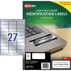 AVERY L6011 DURABLE H/D LABEL Laser 27/Sht 63.5x30 Slvr Met Pack of 540
