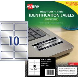 AVERY L6012 DURABLE H/D LABEL Laser 10/Sht 96x50.8 Slvr Met Pack of 200