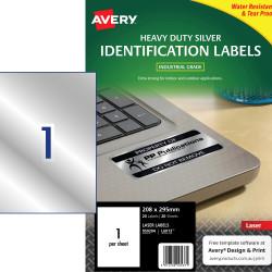 AVERY L6013 DURABLE H/D LABEL Laser 1/Sht 210x298 Slvr Met Pack of 20