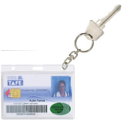 REXEL RIGID ID CARD HOLDERS Fuel Card with Key Ring Pack of 10