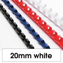 REXEL BINDING COMB 20mm 21 Loop 165Sht Cap White Pack of 100