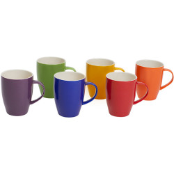 CONNOISSEUR COLOURED MUGS Assorted 370ml Polished Colors Set of 6