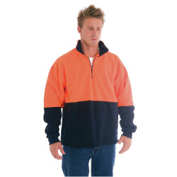 ZIONS 3825 SAFETY POLAR FLEECE Two Tone Panel 1/2 Zip Hi-Neck