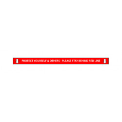 SP- SIGN SIGNEX 75X1500MM FLOOR DECAL SLIP RESISTANT STAY BEHIND LINE RED