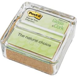 POST-IT POP-UP NOTE DISPENSER Clear Glass & Cork GC-330