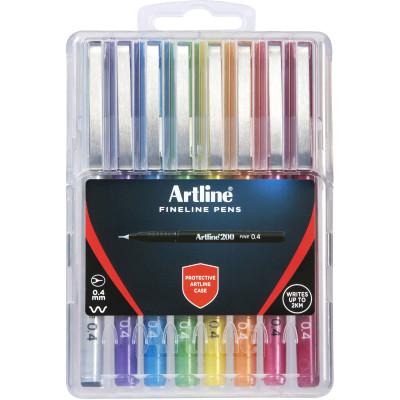 Artline 200 Fineliner Pen 0.4mm Hard Case Assorted Pack Of 8