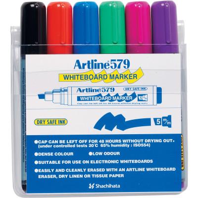 Artline 579 Whiteboard Marker Chisel 2-5mm Assorted Colours Pack Of 6