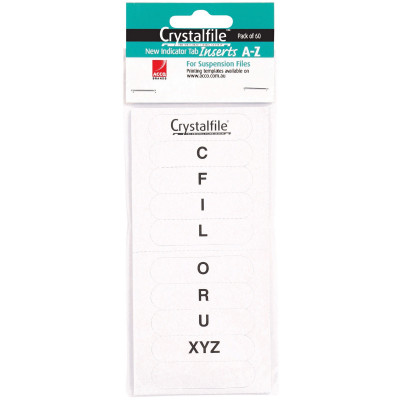 CRYSTALFILE INDICATOR INSERTS New Style A-Z White Pack of 60